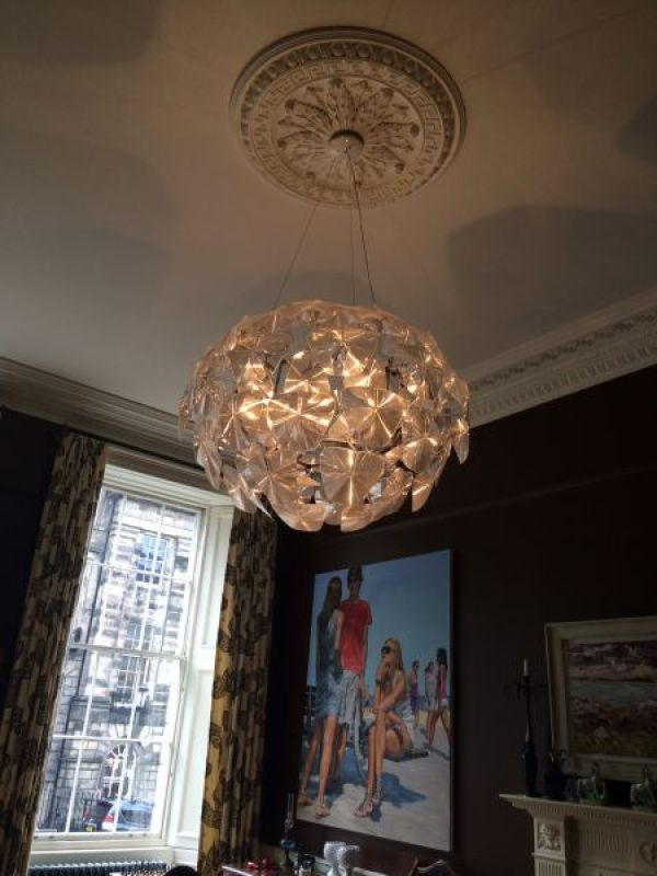 Electrical projects gallery optical lighting chandelier installation 2 mozeypictures Image collections